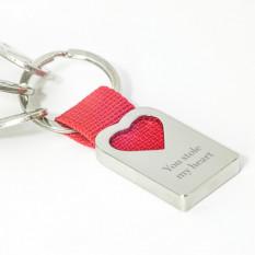 Llavero personalizado con correa para el corazón - Robaste mi corazón