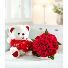 Oso Abrazo Rose Bouquet