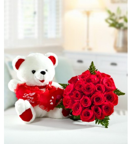 Oso Abrazo Rose Bouquet