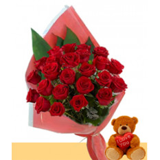 Dos almas enamoradas (12 rosas + Teddy Bearus)