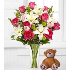 Abrazos de muy lejos (10 rosas + oso de peluche (ramo))