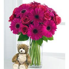 A pesar de que estás lejos (12 rosas + 3 Gerbera Daises + Teddy Bearus)