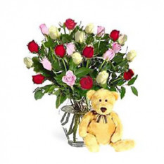 Multicolor De Rosas (48 Rosas Con Teddy Bearus)