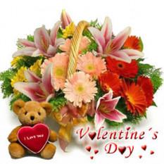 Amor alegre (6 gerberas + 1 lirio + oso de peluche)