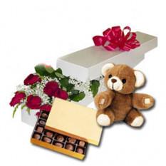 Día precioso (24 rosas + osito de peluche24)