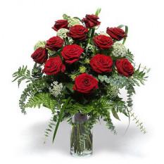 12 Rosas clásico rojo