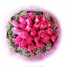 Ramo de rosas rosadas del 20 con la respiración del bebé