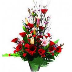 Jarrón arreglo de flores mixtas