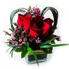 Vase Arreglo de Rosas rojas con rellenos