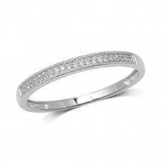 Oro blanco de 10Q, 0.1 Ct.Tw. Anillo de la boda de diamante anillo
