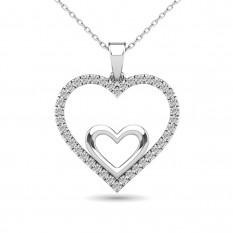 Colgante de doble corazón de oro blanco de 10 quilates de diamantes de 0.20 kt
