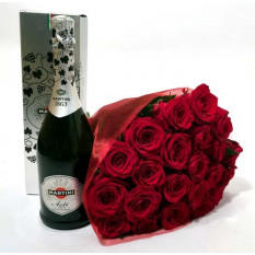 Ramo de rosas rojas y caja de regalo de Asti Martini (7 rosas)