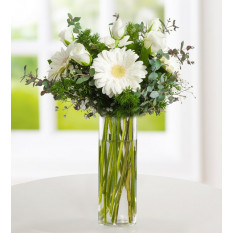 White Roses and Gerberas - Above the Clouds (Without Vase)