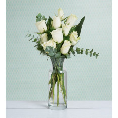 10 White Roses - Purity of You (Without Vase)