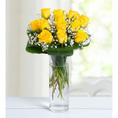 12 Yellow Roses - Good Morning Sunshine (Without Vase)