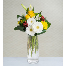 Lilies, Roses and Gerberas - Bright Morning (Without Vase)