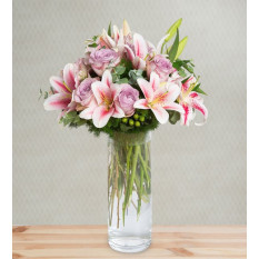 Lilies and Roses - Velvet Fest (With Vase)