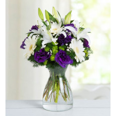 Lilies, Gerberas and Lisianthus - Strike a Pose (With Vase)