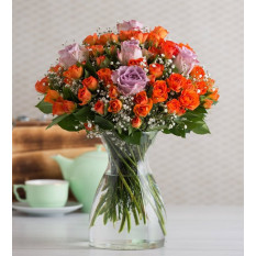 60 Orange rambler roses and 5 Lilac Roses - Summery Twinkle (With Vase)