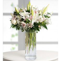 Alstroemeria, Roses and Lilies - Alstroemeria Touch (Without Vase)