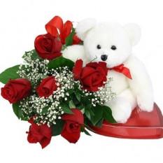 6 rosas Chocolates y oso incluido