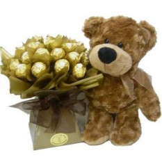 Peluche con ramo de chocolates