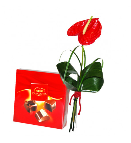 Anthurium rojo y mini chocolates Nestlé