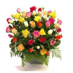 Centro de rosas multicolores