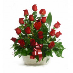Canasta De 18 Rosas Rojas