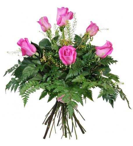 Ramo de 6 rosas rosadas
