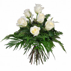 Ramo de 6 rosas blancas de pureza