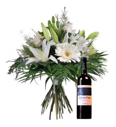 Ramo de flores y vino tinto (grande)