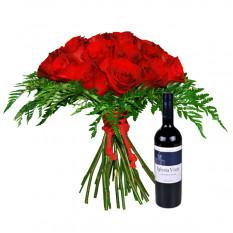 Rosas rojas con vino tinto (grande)