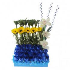 Arreglo floral de flores azules - FAZ005