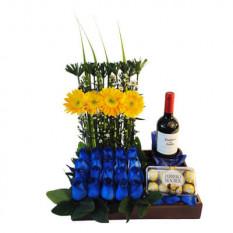 Arreglo de flores azules-1