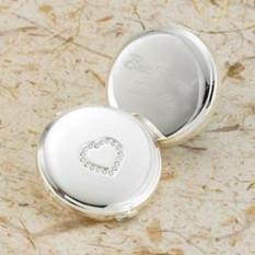 Grabado corazón plateado plata compacta
