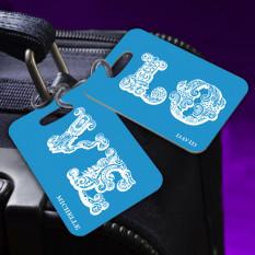 Personalized LOVE Connection Blue Etiqueta de equipaje