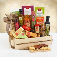 Cesta de regalo de cajón de madera y carne Ultimate
