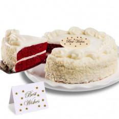 """Terciopelo rojo pastel de chocolate """"mejores deseos"""""""