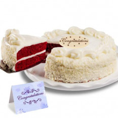 """Terciopelo rojo pastel de chocolate """"Enhorabuena"""""""