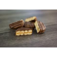 Galletas de sándwich de manteca de cacahuete cubiertas de chocolate