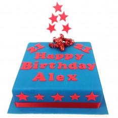 Pastel de cumpleaños personalizado con estrellas (10 pulgadas)